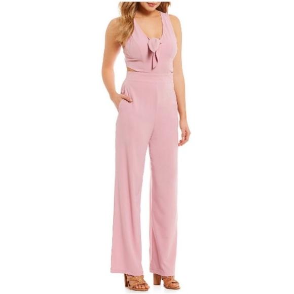 7f4850d9d8b5 NEW GB Gianni Bini S Pink Fav Tie Front Jumpsuit 2